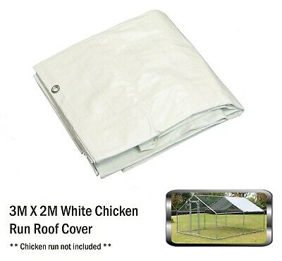 Bulhawk 3x2 White Waterproof Chicken Run Coop Cage Replacement Rain Roof Cover