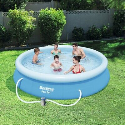 "12FT x 30"" Swimming Pool Outdoor Garden Paddling Family Inflatable Fast Set Pump"
