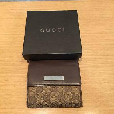 8f1d5df84 Gucci Wallet GG Canvas Bifold Brown Leather Authentic Silver Logo With Box  fine