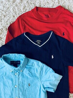 Lot 3 Youth Boys' Polo Ralph Lauren Long & Short Sleeve Shirts Size 4/4T GREAT