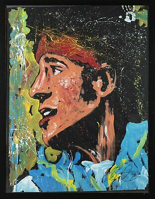Denny Dent Bruce Springsteen Oil on Paper Original Painting Massive Rare