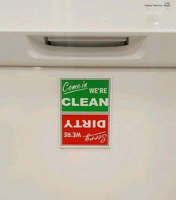 NEW! Funny Clean / Dirty Dishwasher Laminated STRONG Magnet Sign