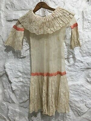 Antique Victorian Edwardian 1900's Lace Sheer Drop Waist Girls Dress