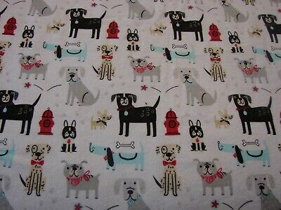 Flannelette Fitted Multi-Coloured Dogs White Cot Sheet Handmade