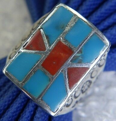 "Men's Vtg. 7/8"" Turquoise Coral Hand Wrought 0.925 Sterling Silver Ring Size 11"