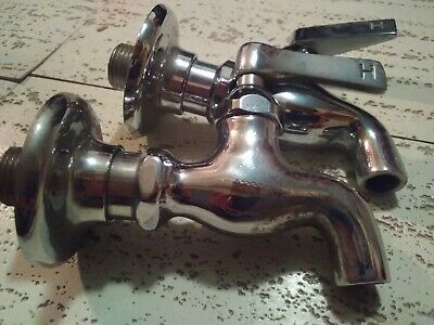 Vintage Pair Of Old School Chromed Brass Hot Sink Faucets