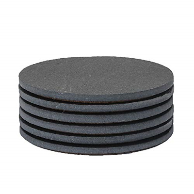 Functional Slate Coasters Round Black Coasters with Absorbent Top Surface 6 Pack