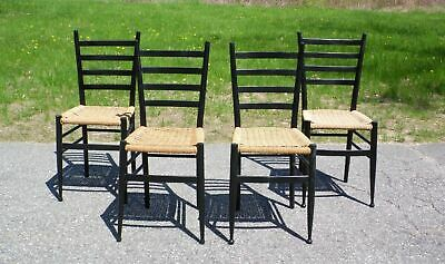 Vintage Set of 4 Mid Century Modern Gio Ponti Style Ladder Back Chairs Italy