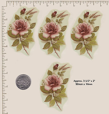 "4 x Ceramic decals Blush rose spray.Floral flowers 90mm x 50mm 3 1/2"" x 2""  D2"