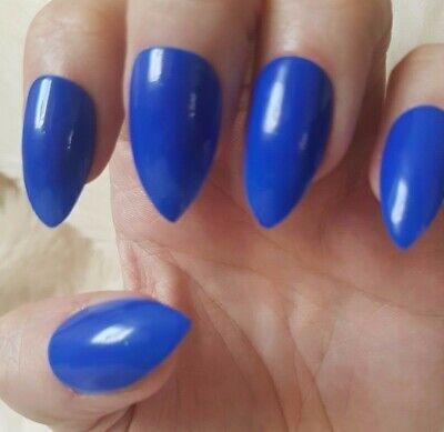 Hand Painted Royal Blue False Nails. 20 Short Stiletto Press-on Nails. Glossy.