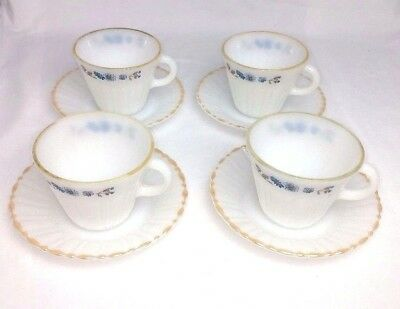 4 VTG TERMOCRISA Cups & Saucers Milk Class Mexico Gold Rim Blue & Gray Flowers