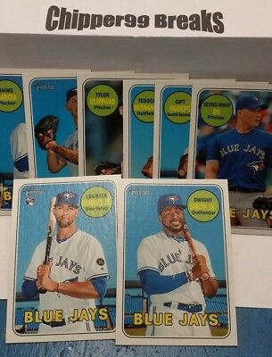 Toronto Blue Jays 2018 HIGH NUMBER Topps Heritage Team Set of 8 Cards Gurriel Jr