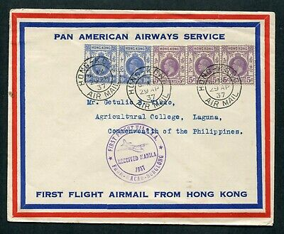1937 Clipper.1st First Flight Airmail cover Hong Kong (KGV) to Philippines Is.