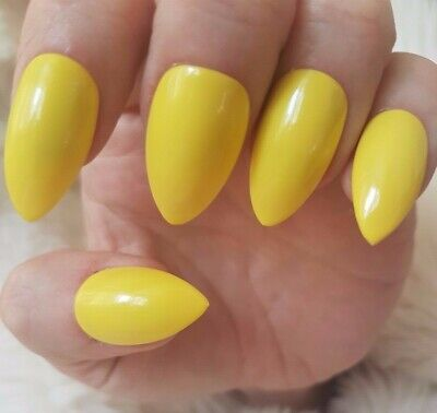 Hand Painted Yellow False Nails. 20 Short Stiletto Press-on Nails. Glossy.