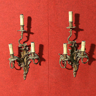 Pair of Appliques French Bronze Golden Chandelier Lamp Antique Style 900