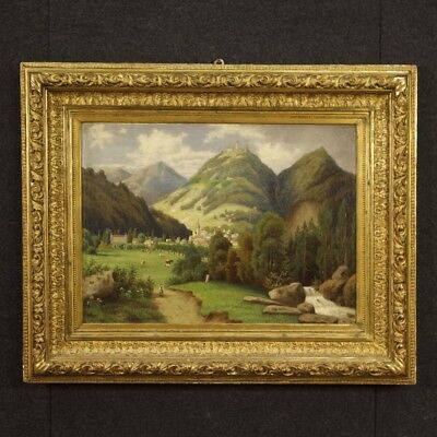 Painting French Painting Paesaggio Oil on Canvas Frame Golden Antique Style 900