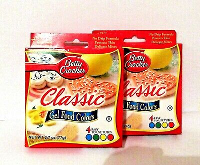 BETTY CROCKER CLASSIC GEL FOOD COLORS - 2 Packages of 4 Multi-Color Tubes.
