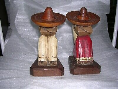 "Vintage Hand Carved Folk Art Mexican Siesta 6-1/4"" Bookends"