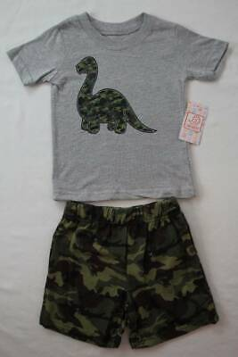 NEW Toddler Boys 2 Piece Set Size 3T Outfit T Shirt Shorts Dinosaur Camouflage