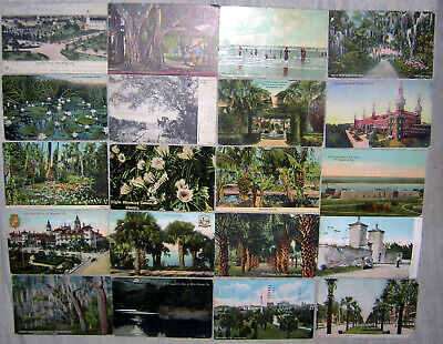 Large Lot of 100 Vintage Florida Pre-Linen Postcards