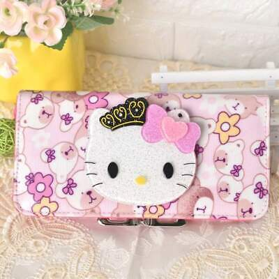 Cute Hello Kitty Wallet with Mirror Bear Flower Long Purse Bag Girls Nice Gift