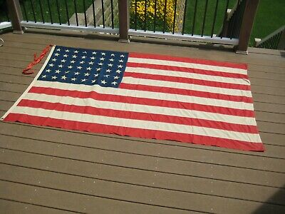 "Vintage 48 Star USA American Flag 55"" x 92"""