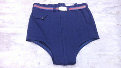 Vtg 40s men's SWIMAWAY stretchy WOOL Lycra blend SHORTS TRUNKS SWIM SUIT 34 Blue