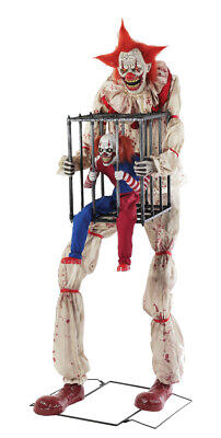 Halloween Life Size Animated Cagey The Clown With Clown Cage Prop