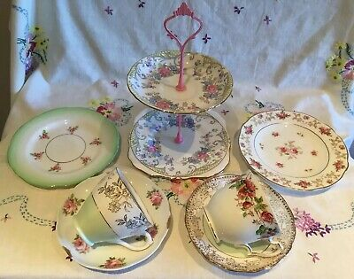 *Beautiful Vintage Mismatched 🌸 Pink And Green Chintz Bone China Tea Set For 2*