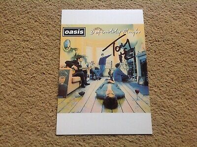 Tony McCarroll Autographed Hand Signed Oasis Definitely Maybe Postcard Gallagher