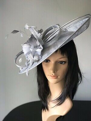 NIGEL RAYMENT METALLIC SILVER WEDDING ASCOT DISC FASCINATOR Mother The Bride Hat