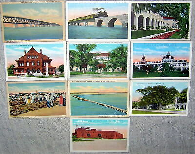 Lot of 10 Vintage Key West, Florida Linen Postcards - Unused