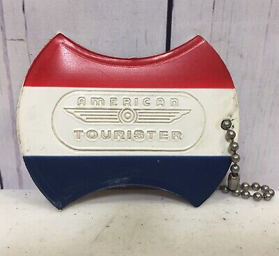 Vintage American Tourister Luggage Tag Baggage Suit Case Red White Blue Tag