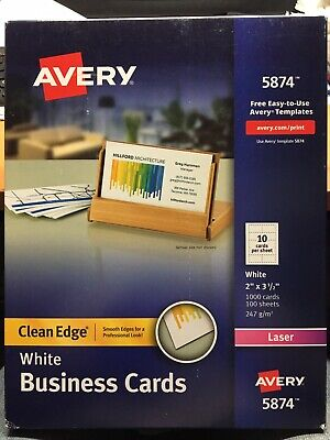 Avery White Business Cards 1000 Cards 100 Sheets, # 5874