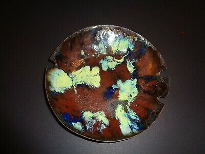 Vintage Enamel Copper Metal Bowl Ashtray MID-CENTURY MODERN ABSTRACT MCM Signed