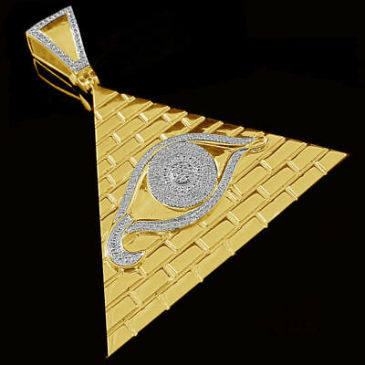 Diamond Mens Illuminati All Seeing Eye Pendant Pyramid Charm 14K Yellow Gold Fn