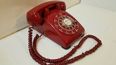 Telephone Western Electric Rotary Dial Red Desk Top Phone Vintage Bell Sys