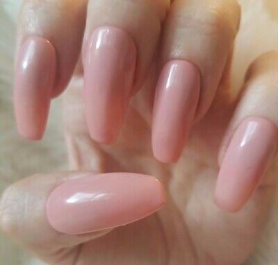 Hand Painted Nude False Nails. 20 Long Coffin Press-on Nails. Glossy.