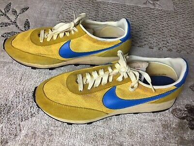 a0c98e56 Vintage Nike Waffle Trainer UCLA Yellow Blue Running Shoes Made In USA  Sneakers