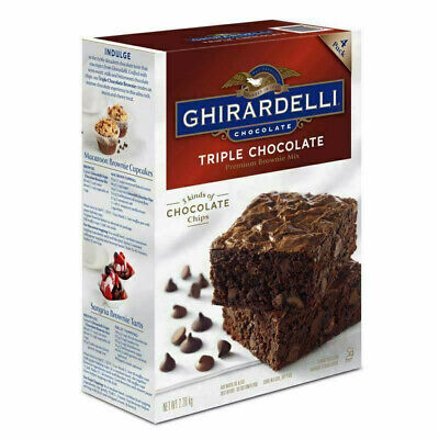 Ghirardelli Triple Chocolate Brownie Cake Premium Mix Pack of 4 Batches 2.26kg
