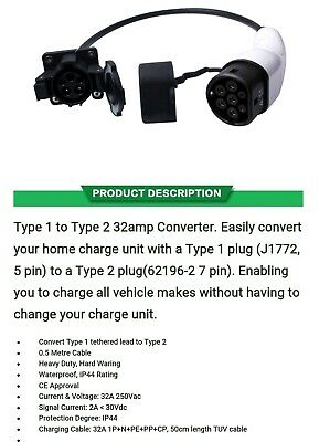 Type 1 to Type 2 EV / PHEV charging charge cable adapter 32amp converter.