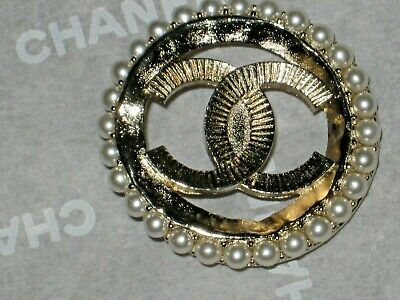 Chanel 1  Matte Gold  Metal  Pearl Button 27 Mm/ Over 1''   New Wow
