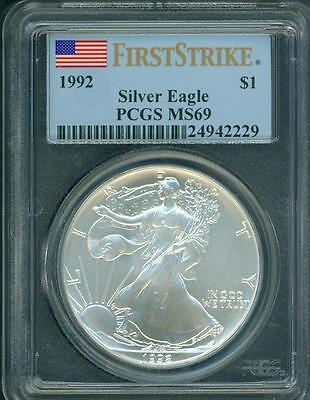 1992 American Silver Eagle ASE S$1 PCGS MS69 Near PERFECT FIRST STRIKE FS !