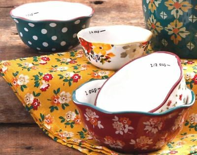 Pioneer Woman Stoneware 4 Nesting Measuring Cups Autumn Harvest Fall Flowers NEW
