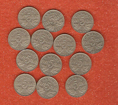 13 Different Canada King George V five Cent Coins all nice coins E279