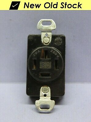 7250 Hubbell Flush Receptacle Outlet Polarized 4-Wire - 20A 250V - New Old Stock