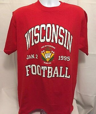 Vintage 90s Russell Athletic Wisconsin Badgers Football Mens T-Shirt 1995 Sz XL