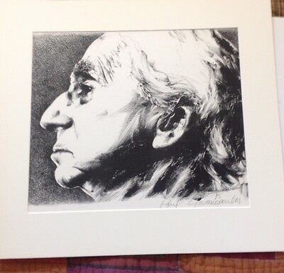 Rare signed original lithograph of Bertrand Russell by Paul Giovanopoulos