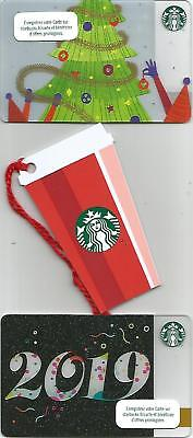 FRANCE  Starbucks cards NEW * Christmas Tree - Cup - Year 2019 * 2018 / set of 3