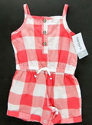 Carters Girls Romper Sunsuit Red White Check Cotton Size 3 Months